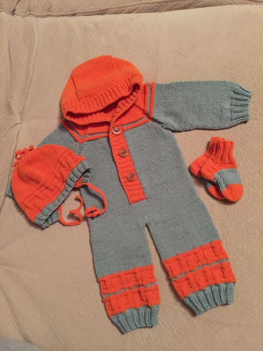 Для новорожденных, ручной работы. Ярмарка Мастеров - ручная работа. Купить Комплект для новорожденного: комбинезон, шапочка, носочки. Handmade.