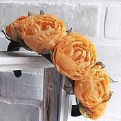 Украшения ручной работы. Ярмарка Мастеров - ручная работа Ободок для волос с оранжевыми цветами из ткани.. Handmade.