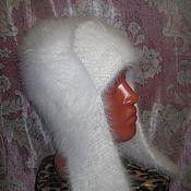 Аксессуары ручной работы. Ярмарка Мастеров - ручная работа белая шапка-ушанка для взрослых №17. Handmade.