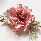 Украшения ручной работы. Ярмарка Мастеров - ручная работа цветок из шелка, брошь тёплая кремово-розовая открытая роза. Handmade.