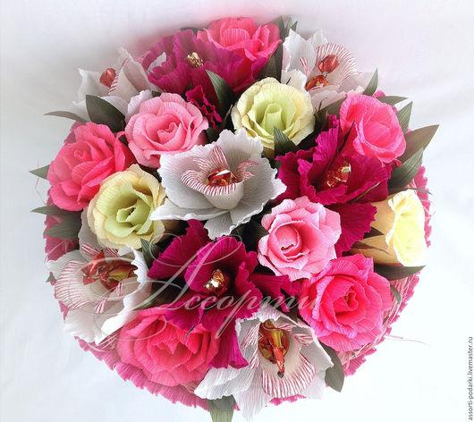 Букеты ручной работы. Ярмарка Мастеров - ручная работа. Купить Букет из конфет Розы, орхидеи, ирисы. Handmade. Розовый, розы