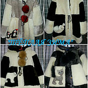 Одежда handmade. Livemaster - original item MUTTON FUR COAT FOR GIRLS WITH APPLIQUES.. Handmade.