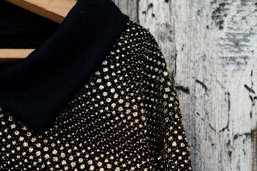 """Кофты и свитера ручной работы. Ярмарка Мастеров - ручная работа. Купить Пуловер """"Звездная Россыпь"""". Handmade. Золотой, стиль, черный"""