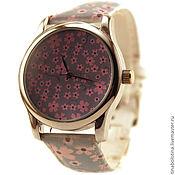 Украшения ручной работы. Ярмарка Мастеров - ручная работа Дизайнерские наручные часы Цветочный серо-розовый узор. Handmade.