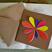 """Открытки ручной работы. Ярмарка Мастеров - ручная работа Поздравительная открытка """"Цветик"""". Handmade."""