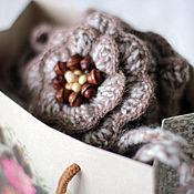 """Аксессуары ручной работы. Ярмарка Мастеров - ручная работа """"Латте""""-шарф-труба,митенки,брошь. Handmade."""