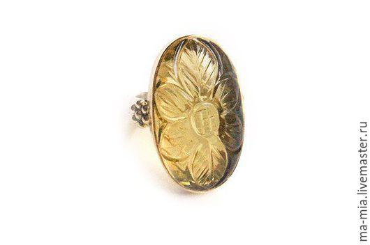 Кольца ручной работы. Ярмарка Мастеров - ручная работа. Купить кольцо Лимонный кварц резной. Handmade. Лимонный, лимонный кварц