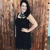 Одежда ручной работы. Ярмарка Мастеров - ручная работа Расшитое бисером черное вечернее платье, длинное в стиле винтаж. Handmade.