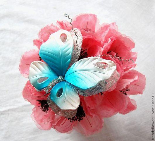 Заколки ручной работы. Ярмарка Мастеров - ручная работа. Купить Бабочка из шелка. Брошь, заколка. Цветы из шелка. Handmade. Бирюзовый