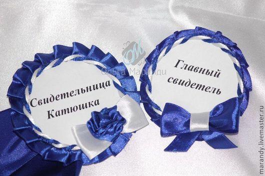 Свадебные аксессуары ручной работы. Ярмарка Мастеров - ручная работа. Купить Бутоньерка и браслет для свидетелей. Handmade. Тёмно-синий, картон