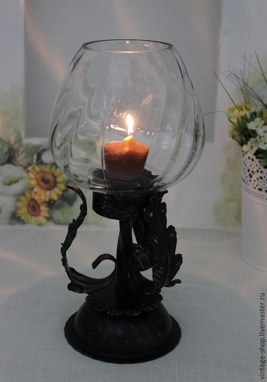 Винтажные предметы интерьера. Ярмарка Мастеров - ручная работа. Купить Винтажная лампа-подсвечник для одной свечи, Германия. Handmade. Черный