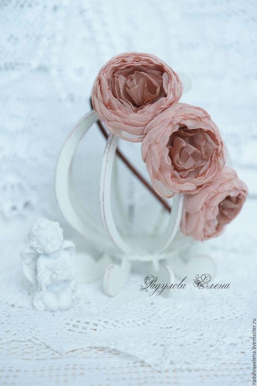 Диадемы, обручи ручной работы. Ярмарка Мастеров - ручная работа. Купить Ободок с цветами ручной работы розы шифон. Handmade.