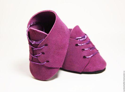 Одежда для кукол ручной работы. Ярмарка Мастеров - ручная работа. Купить Ботиночки из натуральной замши. Handmade. Обувь ручной работы