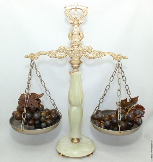 Винтажные предметы интерьера. Ярмарка Мастеров - ручная работа. Купить Весы бронза латунь цепь ваза чаша оникс золото 15. Handmade.
