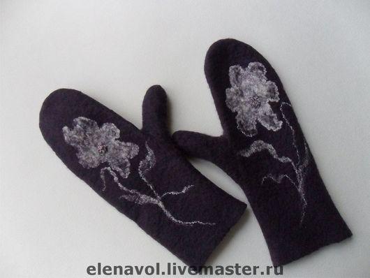 """Варежки, митенки, перчатки ручной работы. Ярмарка Мастеров - ручная работа. Купить варежки """"Иллюзия"""". Handmade. Валяные варежки, цветочный"""