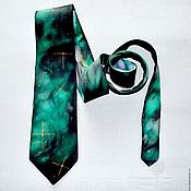 Ties handmade. Livemaster - original item Green black Cosmic tie handpainted batik silk men handpainted man tie. Handmade.