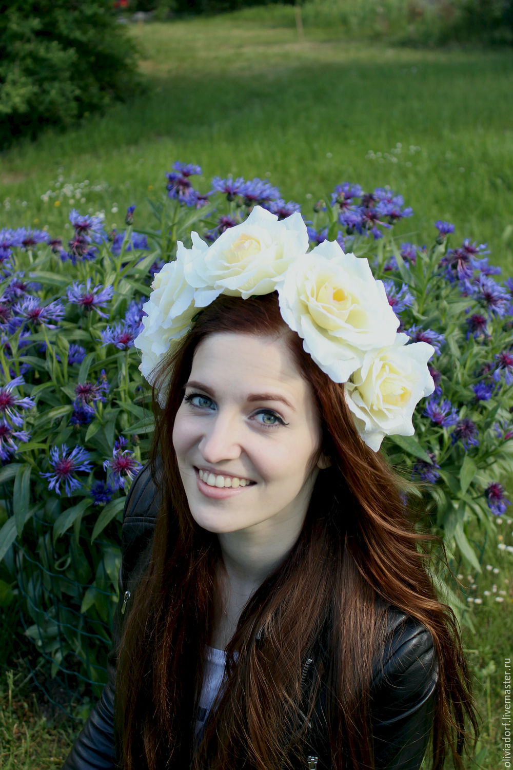 Flower Crown With Big Ivory Roses Wedding Crown Hair Accessory