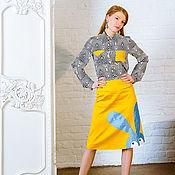 Одежда ручной работы. Ярмарка Мастеров - ручная работа Голубой воришка - юбка с аппликацией. Handmade.