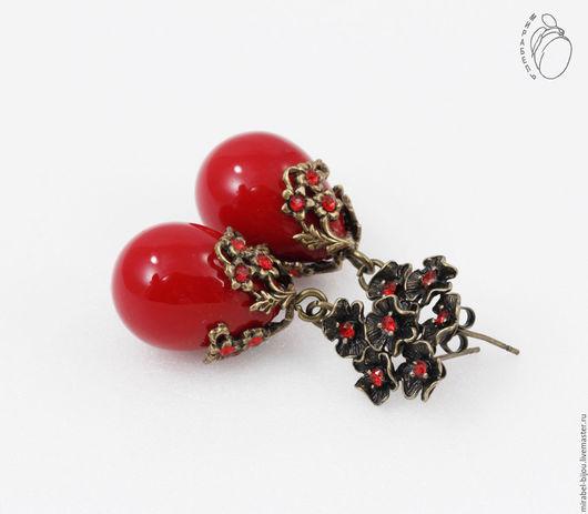 Мирабель-бижутерия. Темно красные серьги капли в винтажном стиле, вечерние, серьги с цветами, под бронзу, фото. Купить серьги в Москве. Mirabelle. Handmade. Red drop earrings in vintage style