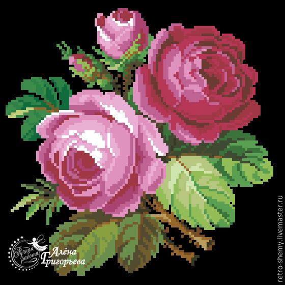 """Купить Схема вышивки """"Розовые"""