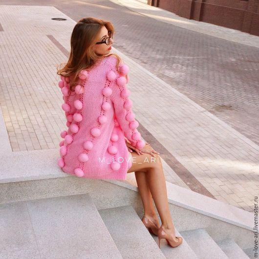 Кофты и свитера ручной работы. Ярмарка Мастеров - ручная работа. Купить Кардиган с объемными шариками розовый. Handmade. Розовый