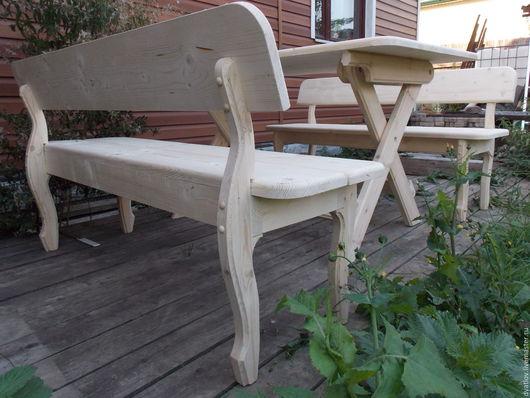 Экстерьер и дача ручной работы. Ярмарка Мастеров - ручная работа. Купить Стол со скамейками. Handmade. Комбинированный, дерево