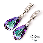 Earrings handmade. Livemaster - original item Earrings with Swarovski crystals Long Swarovski Multicolour earrings. Handmade.
