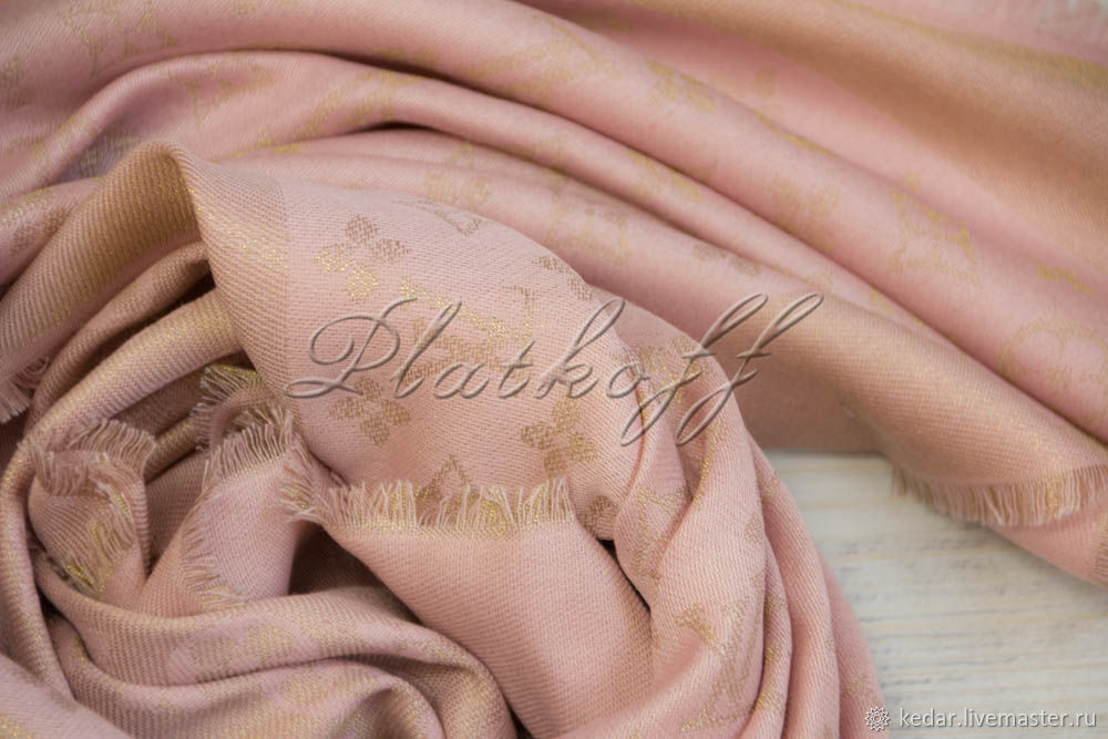 Pink monogramm scarf from louis Vuitton fabric, Shawls1, Moscow,  Фото №1