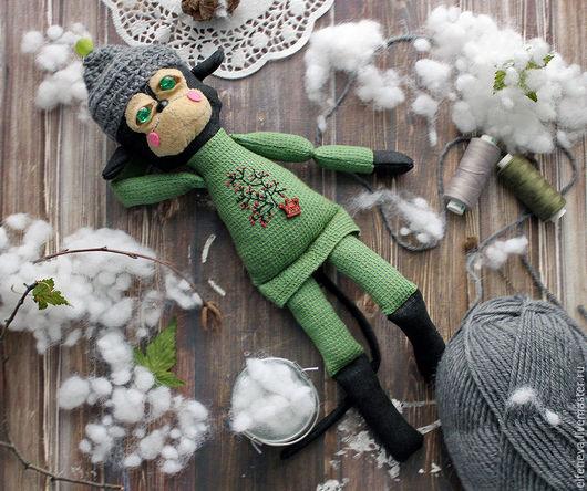 """Игрушки животные, ручной работы. Ярмарка Мастеров - ручная работа. Купить Текстильная обезьянка """"Лейка"""". Handmade. Зеленый, обезьянка в подарок"""