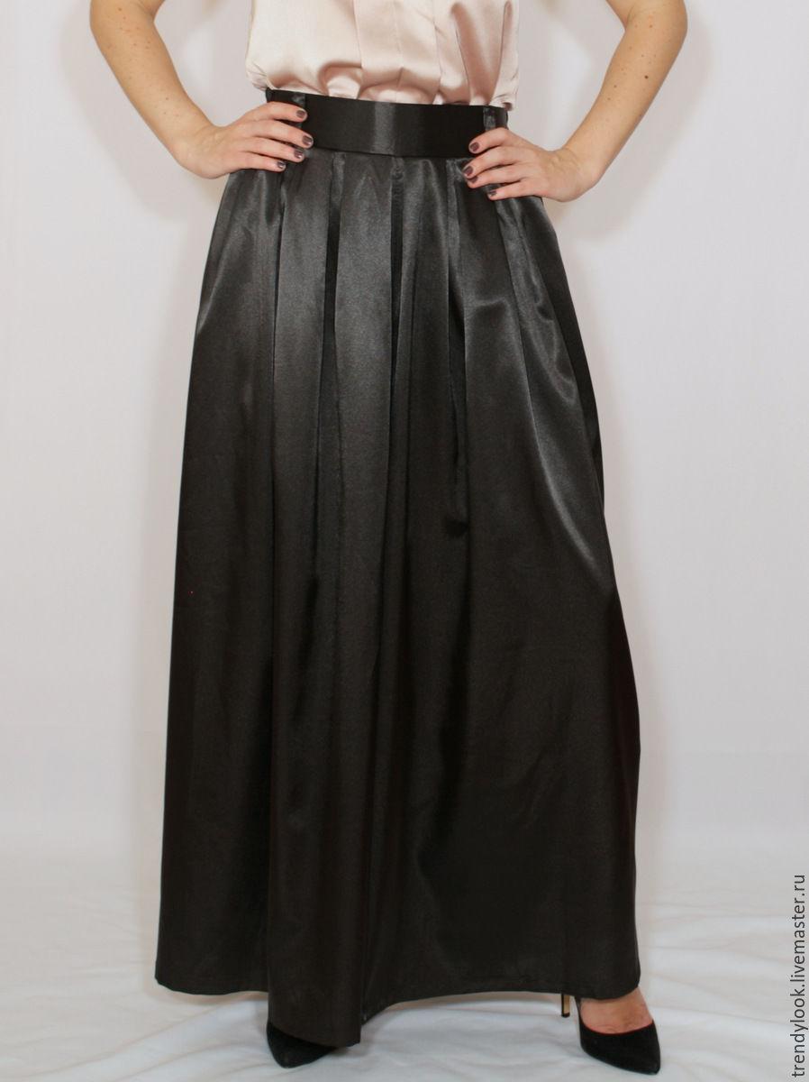 Купить длинную атласную юбку