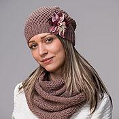 Аксессуары handmade. Livemaster - original item Hat with flower and scarf Snood