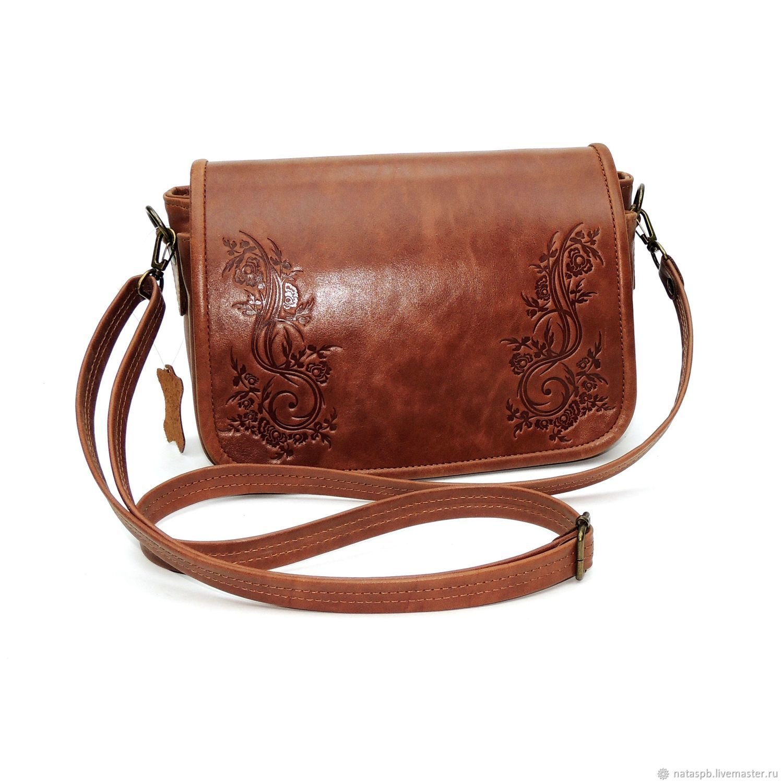 Women's leather bag brown-red Spring, Crossbody bag, St. Petersburg,  Фото №1