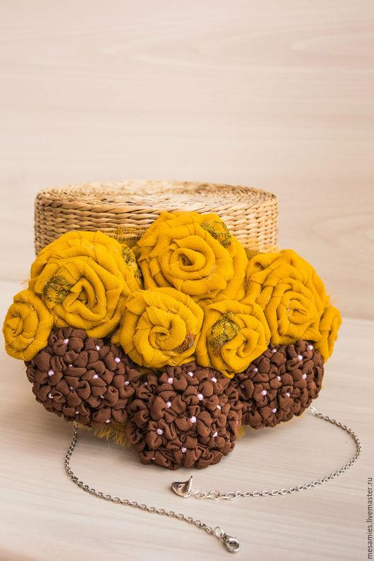 Колье, бусы ручной работы. Ярмарка Мастеров - ручная работа. Купить Колье из текстиля «Воскресное чаепитие с Диккенсом» коричнево-желтое. Handmade.