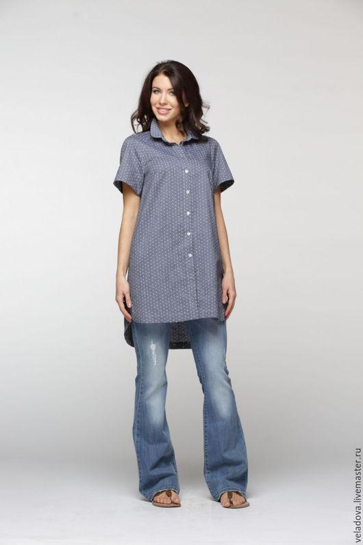 Большие размеры ручной работы. Ярмарка Мастеров - ручная работа. Купить Хлопковая рубашка в горошек. Handmade. Синий, рубашка в горошек