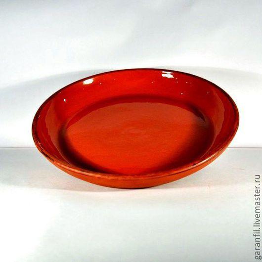тарелка гончарная, глазурованная внутри, диаметр 29 см