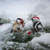 Сувениры и подарки handmade. Livemaster - original item Christmas decorations: The goldfinch and the Woodpecker a Couple of Christmas toys Painting. Handmade.
