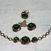 "Украшения handmade. Livemaster - original item A set of ""emerald"" from 925 sterling silver with gold. Handmade."