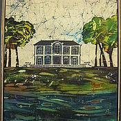 """Картины и панно ручной работы. Ярмарка Мастеров - ручная работа """"Домик на озере"""" картина-батик. Handmade."""