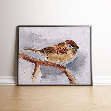 Картины и панно ручной работы. Ярмарка Мастеров - ручная работа Акварель на холсте Воробей (серый коричневый картина). Handmade.