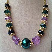Украшения handmade. Livemaster - original item Choker necklace of crystal and pearl in Oriental style Flowered lilac.. Handmade.