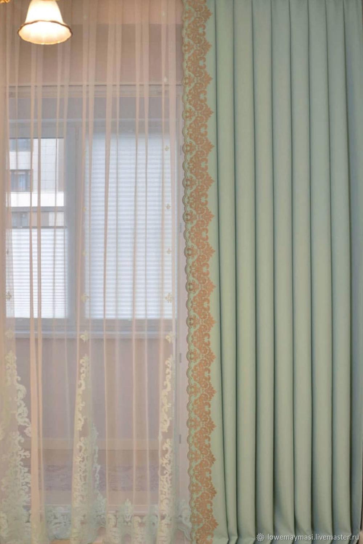 Шторы мятная Роскошь, Шторы, Москва,  Фото №1