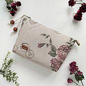 handmade. Livemaster - original item Zippered Cosmetic Bag Vintage Style Rose Bouquet. Handmade.