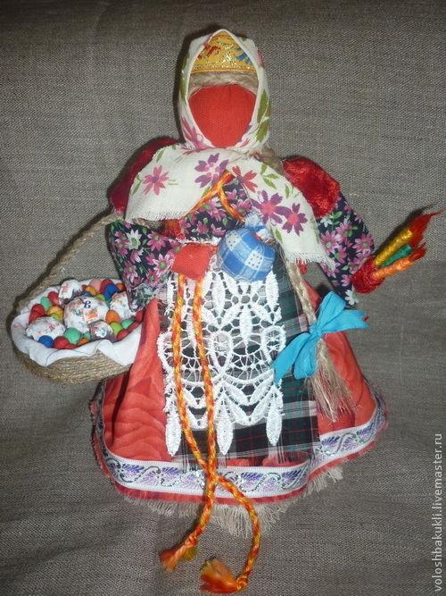 Народные куклы ручной работы. Ярмарка Мастеров - ручная работа. Купить Пасхальная. Handmade. Ярко-красный, ткани натуральные