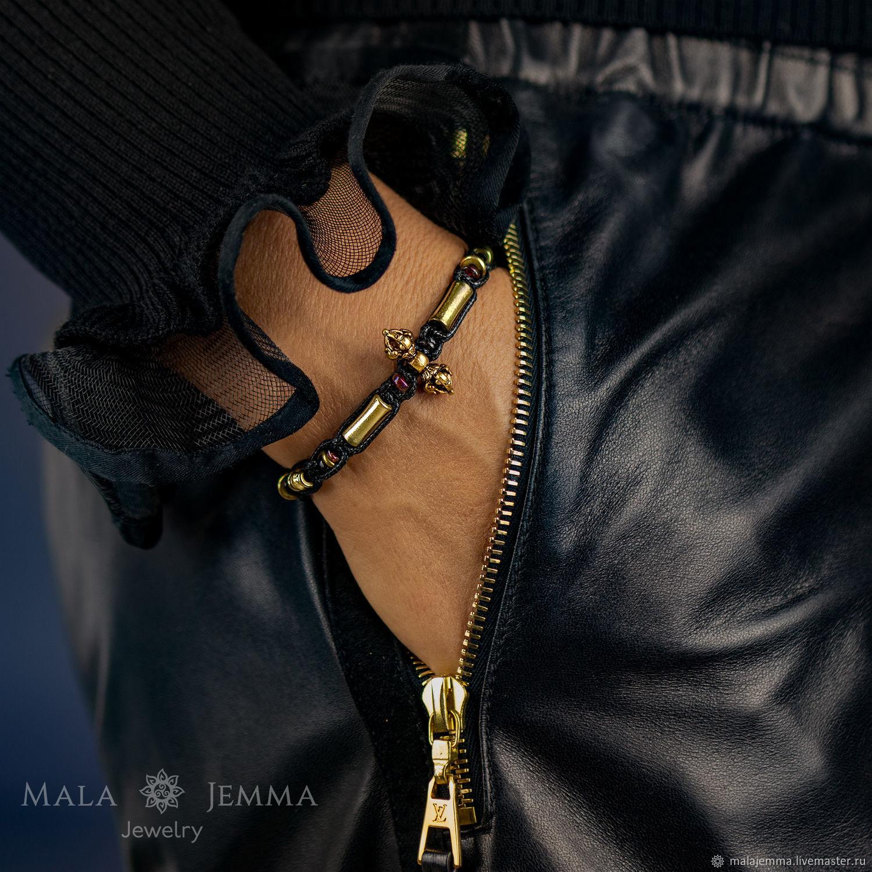 Garnet Women's Bracelet braided with natural Garnet, Braided bracelet, Magnitogorsk,  Фото №1