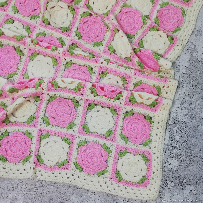 Children's knitted blanket, blanket with rose flowers, crocheted blanket, Blankets, Krasnodar,  Фото №1