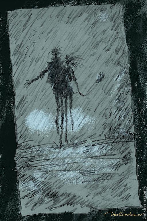 """Люди, ручной работы. Ярмарка Мастеров - ручная работа. Купить """"Дождь """"  авторский принт.. Handmade. Авторский принт"""