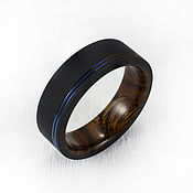 Украшения handmade. Livemaster - original item Black Zirconia ring with iron wood. Handmade.