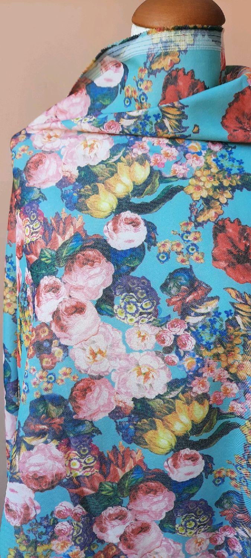 Ткань  джинс  цветы на мятном фоне СМ 01, Ткани, Москва,  Фото №1
