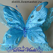 Украшения ручной работы. Ярмарка Мастеров - ручная работа Бабочка брошь Небесно-голубая. Handmade.