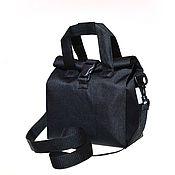 Классическая сумка ручной работы. Ярмарка Мастеров - ручная работа Сумка для обедов на длинном ремне, размер Стандарт, Черная. Handmade.